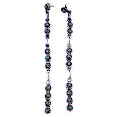 Vintage Zuni Sterling Silver Turquoise Snake Eye Long Pierced Earrings