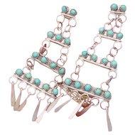 Vintage Zuni Sterling Silver Turquoise Petit Point Dangle Pierced Earrings