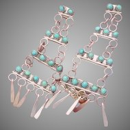 Vintage Zuni Sterling Silver Turquoise Petit Point Dangle Pierced Earrings
