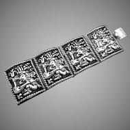 Vintage Taxco Mexico Mexican Sterling Silver Wide Ornate Bracelet