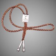 Vintage Hector Aguilar Taxco Mexico Mexican 940 Silver Initial C Bolo Tie