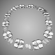 Vintage Taxco Mexico Mexican Sterling Silver Heavy Bold Flower Necklace