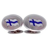 Vintage La Oy Signed Finland Finnish 813 Silver Enamel Flag Cufflinks 1939