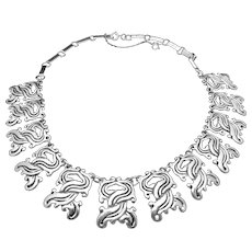 Vintage Taxco Mexico Mexican 980 Silver Classic 1930s Necklace