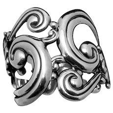Vintage Gerardo Lopez Taxco Mexican 980 Silver Ornate Clamper Bracelet