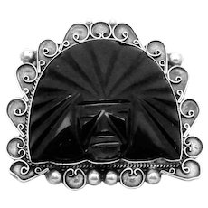 Vintage 1930s Mexico Mexican Sterling Silver Obsidian Big Warrior Mask Pin