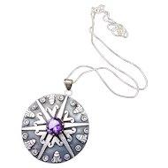 Los Ballesteros Taxco Mexican Sterling Silver Amethyst Pendant Necklace