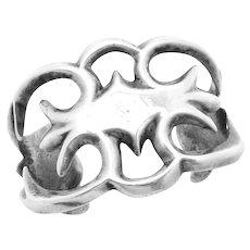 Vintage Navajo Southwest Sterling Silver Sand Cast Large Cuff Bracelet