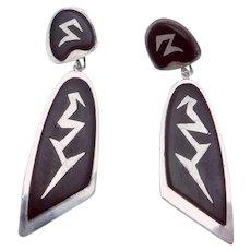 Vintage Modernist Sterling Silver Ebonized Wood Long Dangling Earrings
