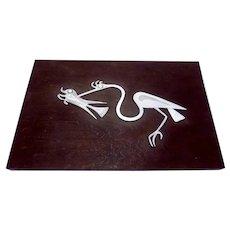 Vintage Peru Peruvian Sterling Silver Bird Fish Wood Plaque Laffi Design