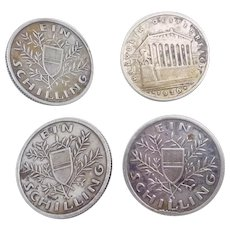 1925 1926 Austrian Ein Schilling Silver Coin Buttons Set of 4