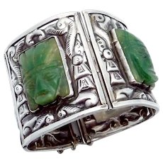Vintage Taxco Mexican Sterling Silver Green Stone Mask Wide Bracelet 115 Grams