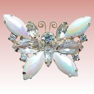 Iridescent Glass Stone & Rhinestone Butterfly Vintage Brooch
