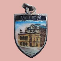 Sterling & Enamel VIENNA Wien Vintage Charm - Souvenir of Austria - Travel Shield