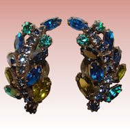 Fabulous BLUE & GREEN Rhinestone Vintage Clip Earrings