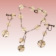 Fabulous Sterling & Faceted ROCK CRYSTAL Vintage Drop Earrings & Bracelet Set