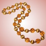 Gorgeous FAWN CRYSTAL & Textured Gold Tone Beads Necklace