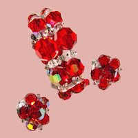 Fabulous RED AURORA CRYSTAL Vintage Estate Wrap Bracelet & Earrings Set