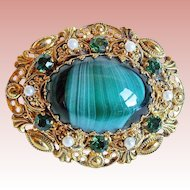 West Germany Green Glass & Rhinestone Vintage Brooch