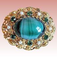 West Germany Green Glass & Rhinestone Vintage Brooch