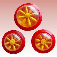 Reverse Carved Bakelite Apple Juice & Early Plastic Red Vintage Buttons