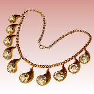 Fabulous BEZEL SET Crystal Stones Vintage Estate Necklace