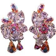 Fabulous Weiss Signed Alexandrite Color Rhinestone & Pink Aurora Vintage Dangle Earrings
