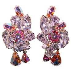 Fabulous Weiss Signed Alexandrite Color Rhinestone & Pink Aurora Vintage Dangle Earrings