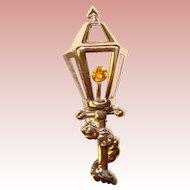 Gorgeous Signed STERLING Lamp Post Design Vintage Brooch