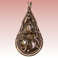 Gorgeous Ornate STERLING Signed Vintage Pendant
