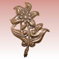Gorgeous STERLING Vintage Star Flower Estate Brooch
