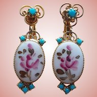 D&E JULIANA Painted Flower Stones & Rhinestone Dangle Earrings - Colors of Pink and Turquoise