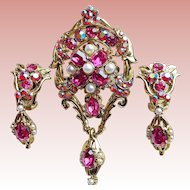 Fabulous DODDS Signed Pink & Red Aurora Rhinestone Vintage Set - Brooch or Pendant & Earrings