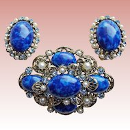 Gorgeous Blue Plastic Stones & Rhinestones Vintage Set - Brooch & Earrings