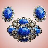 Gorgeous Blue Plastic Stones & Rhinestones Vintage Set - Brooch & Earrings