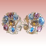 Gorgeous Trifari Color Stones & Rhinestone Vintage Earrings