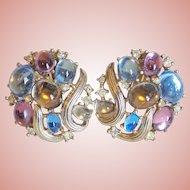 Gorgeous Trifari Color Stones & Rhinestone Vintage Earrings