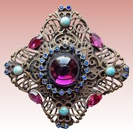 Fabulous Filigree Glass & Rhinestone Vintage Brooch - Purple Pink Blue Turquoise