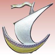 Sterling Enamel Viking Ship Signed Norway Vintage Brooch