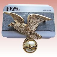 1928 Jewelry Company American Eagle Brooch - on Original Card
