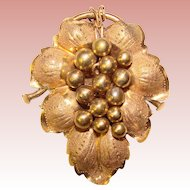 Fabulous Victorian Antique LEAF & GRAPES Design Brooch