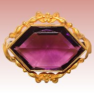 Fabulous VICTORIAN Purple Glass Stone Brooch