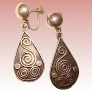 Gorgeous MEXICAN STERLING Scroll Design Dangle Earrings