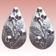 Large Whiting & Davis Signed Vintage Earrings