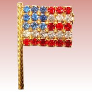 Awesome Small Vintage AMERICAN FLAG Rhinestone Brooch