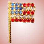 Awesome Small Vintage AMERICAN FLAG Rhinestone Brooch
