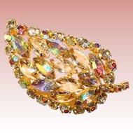 Fabulous AURORA & Clear Rhinestone Vintage Brooch