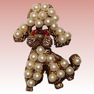 Fun Vintage Faux Pearl DOG Design Brooch