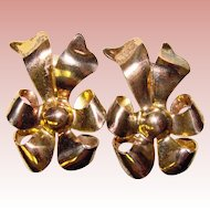 Fabulous Vintage STERLING MONET Bow Shaped Clip Earrings