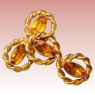 Gorgeous STERLING & Amber Glass Stones 1940's Vintage Earrings